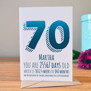 70th Birthday Milestone Card - birthday cards