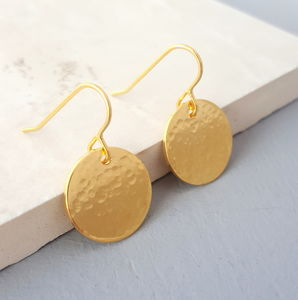 Gold Halo Hammered Drop Earrings - earrings