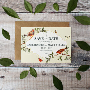 Garden Bird Wedding Save The Date Cards