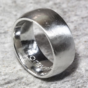 Personalised Sterling Silver 10mm Domed Sand Cast Ring