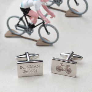 Engraved Cycle Achievement Bike Cufflinks