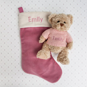 Bertie Bear's Personalised Christmas Stocking In Pink - stockings & sacks