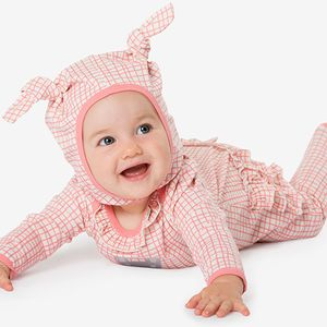 Checked Frilly Bunny Motif Jumpsuit - clothing