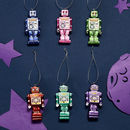 Trio Of Robot Tree Decorations
