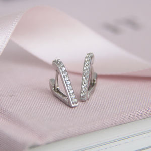 White Sapphire And Silver En Pointe Hoop Earrings - earrings