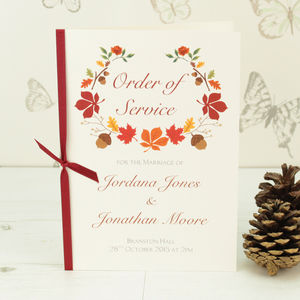 Autumn Order Of Service - weddings