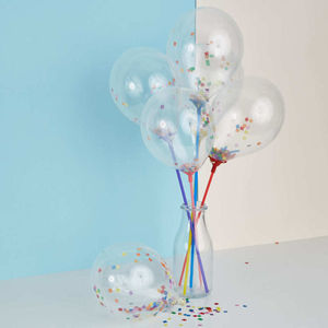 Mini Confetti Balloons On Sticks Set Of Eight - room decorations