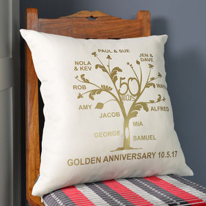 Metallic Golden Anniversary Family Tree Cushion - 50th anniversary: gold