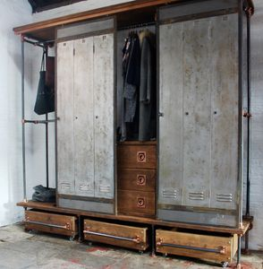 David Open Wardrobe With Vintage Locker Sliding Doors - chests of drawers