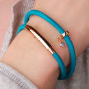 Rose gold and leather birthstone wrap bracelet - turquoise with aquamarine birthstone
