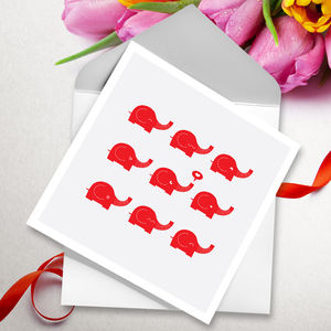 Herd Of Elephants Valentine's Day Card