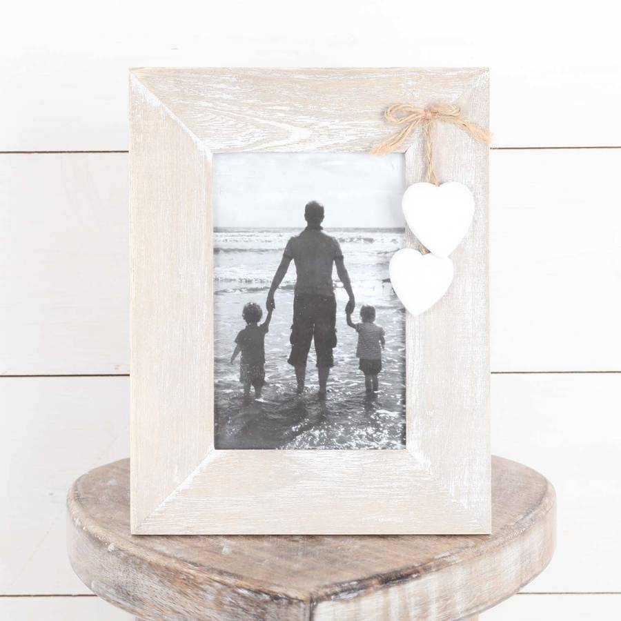 Washed Wood Picture Frame With Two Hanging Hearts