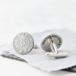 Personalised Coordinate Cufflinks With Secret Message - frequent traveller