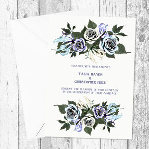 Magical Turquoise And Lilac Floral Wedding Invitation - invitations