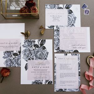 Etched Rose Blush | Wedding Stationery Set - invitations