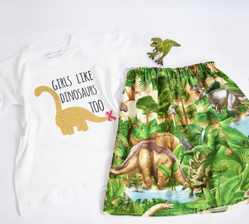 'Girls Like Dinosaurs Too' T Shirt And Skirt Set