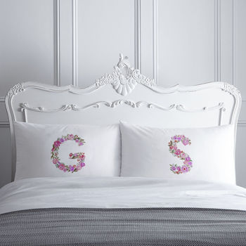 Personalised Floral Initial Pillowcases