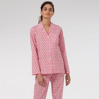 Cotton Pyjamas In Pink Solero Print