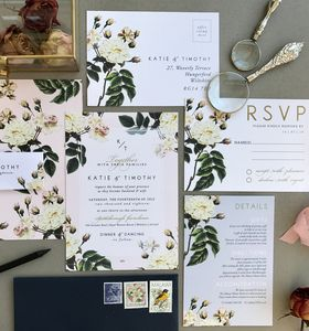 Botanical Rose Wedding Invitation Stationery - save the date cards