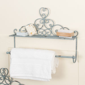Charming Powder Blue Clover Shower Shelf And Towel Rail - towel rails