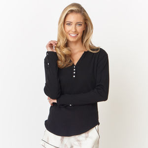 Black Ribbed Cotton Pyjama Long Sleeve Top - lounge & activewear