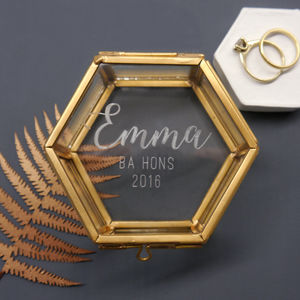 Personalised Mini Glass Hexagon Graduation Box - jewellery boxes