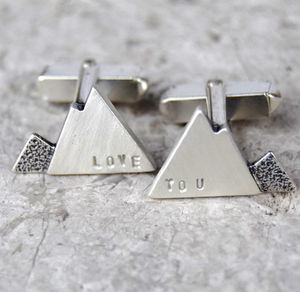 Personalised Silver Mountain Cufflinks - wedding jewellery