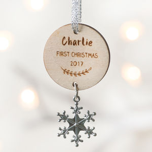 Baby's First Christmas Snowflake Decoration - hanging decorations