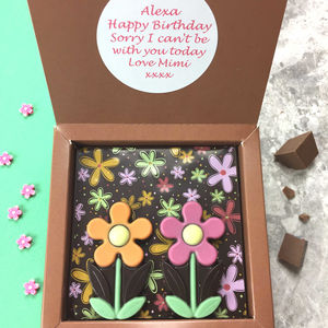 Personalised Message Dark Chocolate With Summer Daisies