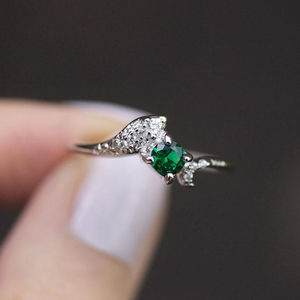 Dainty Emerald Snake Ring In Silver Or Gold - rings
