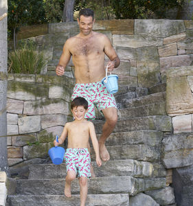 Father And Son Ink Blue Or Opal Lizards Swimming Trunks