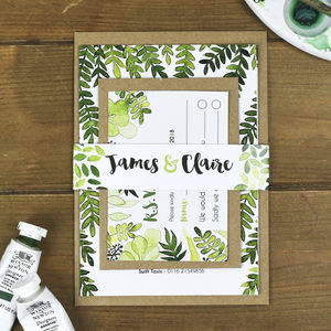Botanical Leaves Wedding Invitation Bundle - summer sale