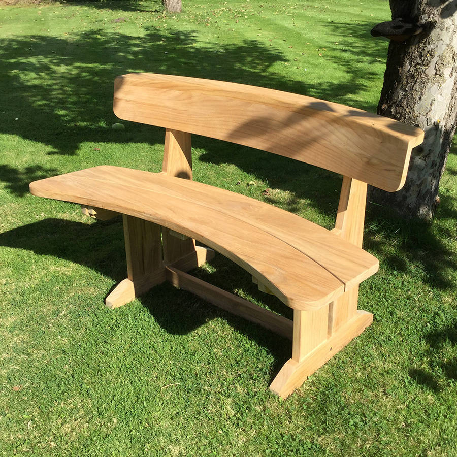 Teak Curved Garden Bench By Blackdown Lifestyle