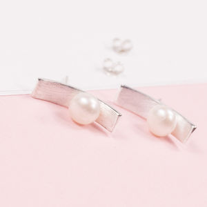 Curved Bar Pearl Studs - earrings