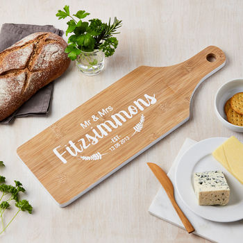 Personalised Mr And Mrs Bamboo Chopping Board