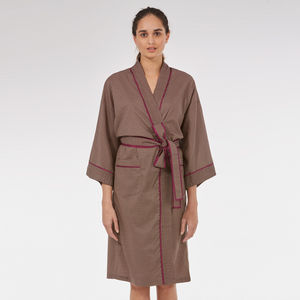 Cotton Wrap Kimono In Dapple Print - lingerie & nightwear