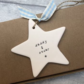 Father's Day 'Daddy And' Ceramic Hanging Star