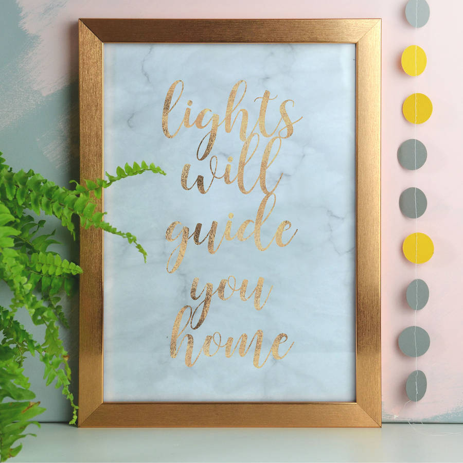 Lights Will Guide You Home Copper Foil And Marble Print By