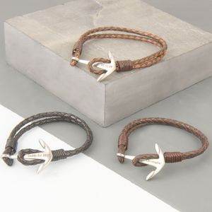 Men's Personalised Bracelet With Anchor Clasp - bracelets