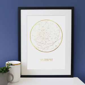 Personalised Wedding Gift Map Of The Stars Print - family & home