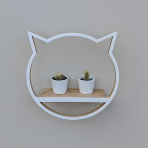 Modern Wooden Cat Shelf - bedroom