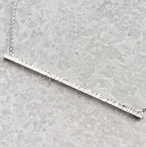 Long Silver Hammered Bar Necklace