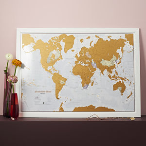 Scratch The World Print With Coin - treasured locations & memories