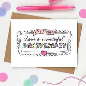 Hip Hip Hooray Anniversary Card - anniversary cards