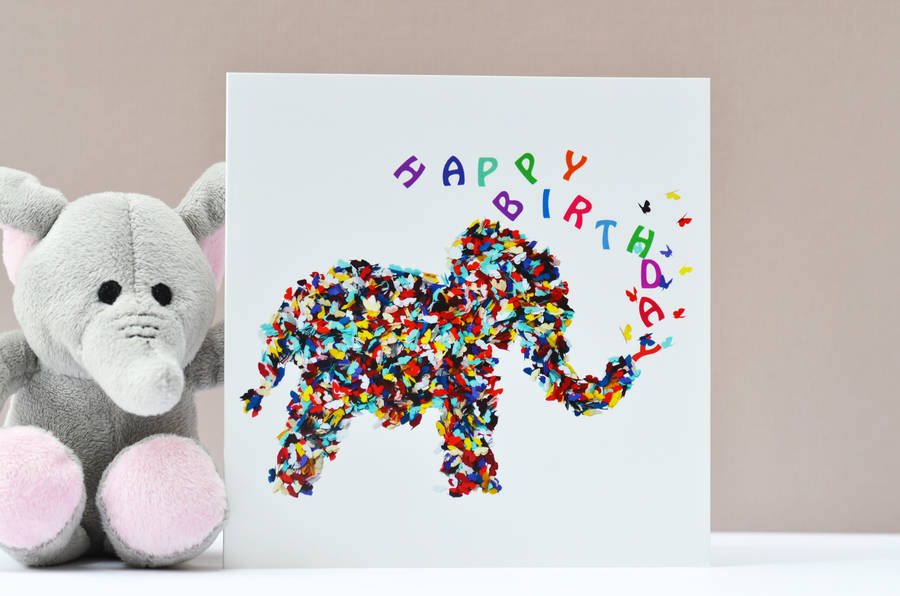 elephant butterfly birthday card by inkywool butterfly art