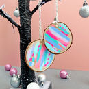 Four Hand Painted 'Neon Sorbet' Christmas Decorations