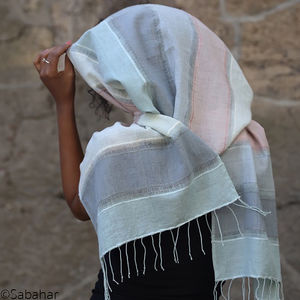Hand Woven Designer Cotton And Silk Scarf - womens