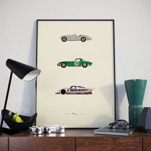 Iconic British Jaguar Car Collection Print