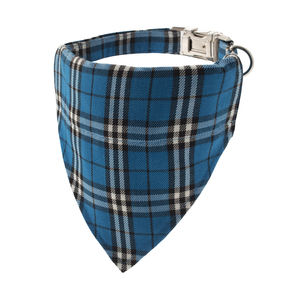 Electric Blue Plaid Bandana Dog Collar - dog collars