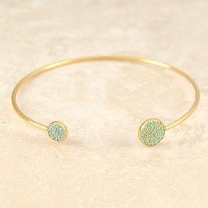 Gold Adjustable Blue Turquoise Cuff Bangle